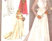 80s Wedding dress and bridesmaid dresses pattern retro vintage sewing pattern Simplicity 9755 UNCUT Bust 32