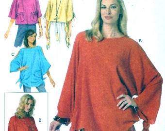 Boho Poncho Tunic tops Summer Casual style fashion sewing pattern Butterick 6171 Size Xsm to Medium UNCUT