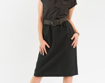 Vintage Black Polka Dot Ascot Dress (Size Medium/Large)