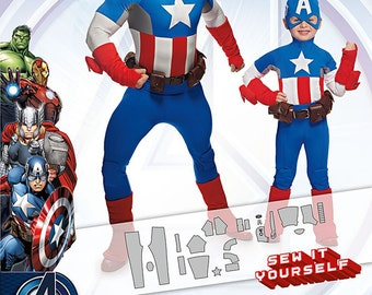 Sewing Pattern-Marvel's Avenger Captain America Simplicity 1030 Size 3-8 Boys/Small-X-Large Men's