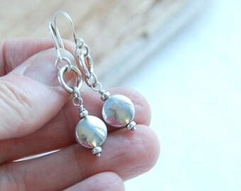 Sterling Silver Earrings, Silver Disc Earrings, Simple Earrings, Everyday Earrings - Little Black Dress Sterling Silver Disk