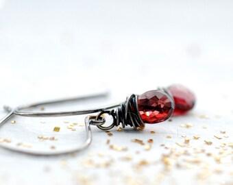 Wine Red Garnet Earrings, Gemstone Jewelry, January Birthstone, Birthstone Jewelry, Winter Wedding, Small Stone Earrings, Dangle Earrings