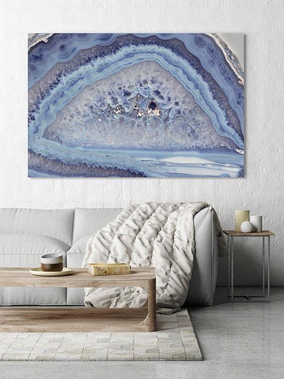 Mineral Photography - (Print #007)  Light Blue Agate Slice - choose Fine Art Print or Canvas