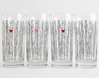 Birch Tree Glassware - Set of 4 Highball Glasses, Birch Tree Wedding Glasses, Birch Tree Themed Wedding, Birch Trees, Valentine Glasses