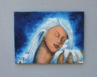 Waterfalls Portrait Original Oil Painting Water Goddess