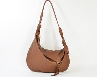 Rosaire - Handmade Brown Leather Twin Size Hobo Shoulder Bag. AW16