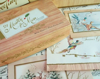 Box of 16 Vintage Unused Christmas Cards and Envelopes Mostly For Men