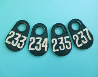 Set of Four Doublesided Teal Vintage Cow Tags