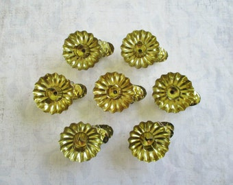 Set of 7 Gold Toned Vintage Tin Pine Cone Christmas Tree Clip Candleholders