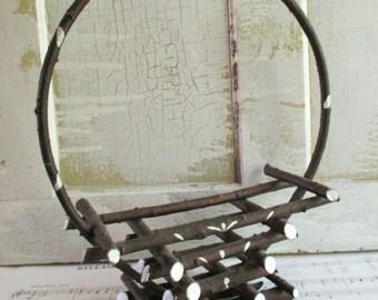 Vintage Rustic Wood Folk Art Basket