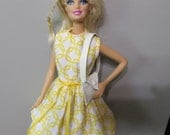 Barbie Dress, Barbie Clothes, Handmade Barbie Clothes, Barbie Sleeveless Dress, Yellow and White, White shoulder purse