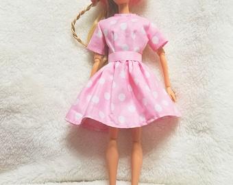 Barbie Dress, Barbie Hat, Handmade Barbie Clothes, Pink Polka Dot, Dress and Hat