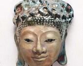 Original Buddha Face Mask Wall Art in Raku Ceramics