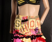 Festival Skirt, sexy mini skirt, cute short skirt, Freak Show mini skirt, circus costume, studded punk ruffle skirt, yellow stripes, X Small