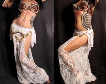 Goddess Heirlooms belly dance Harem Pants, white lace cut out leg. exotic Turkish floorwork, tribal fusion, sexy Gypsy dance costume