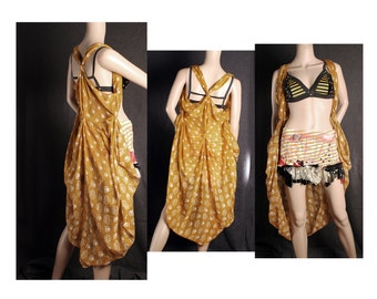 Mustard yellow Layer Layer Top, Boho style coat shawl vest, sleeveless jacket, lightweight, Greek Goddess Halloween costume, racerback