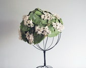 Vintage Spring Hat Green Leaves White Flowers Retro Fashion Stix Baer and Fuller Women Accessory Mid Century Cloche Fabric Garden Hat