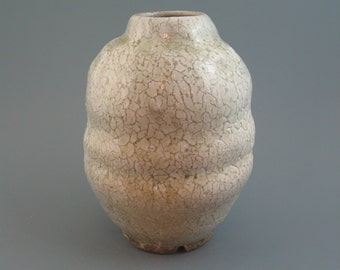Ikebana Vase, wood-fired stoneware w/ crawling shino and natural ash glazes