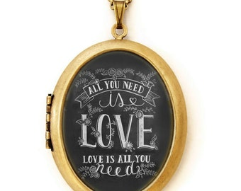 Chalkboard Art Locket Necklace - All You Need Is Love - Hand Drawn Illustrated Art Locket
