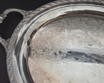 EXTRA LARGE WM Rogers & Son  Serving Tray {Silver Plated Oval Tray with Handles Serving Platter Silverplated Butler Tray Ornate Engraved}