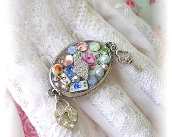Adjustable Silver Cameo Ring Mosaic Crystal Guilloche Enamel Assemblage Heart Charm Lock Key Rhinestones Shabby Chic Swarovski Crystal Roses