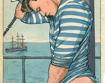 Maritime Modesty Felix dEon Large Print Gay Art Male Nude Nautical Drawing