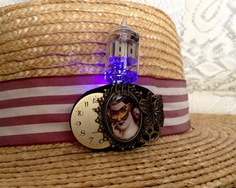 Cameo jewelry - light up steampunk pin - Victorian cameo brooch - glow in the dark pin - pink electronics geeky jewelry - steampunk brooch