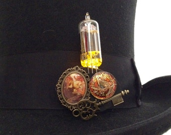 Light up steampunk jewelry - amber LED brooch - Art Nouveau jewelry - steampunk pin - glass button jewelry - playa wear jewelry brooch