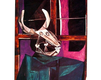 Still Life with Steer's Skull, Sleeping Nude - Picasso Reproduction Print - 1980 Vintage Book Page - Fine Art Print - For Framing - 9 x 11