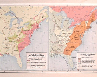 The United States 1775-1800, State Claims to Western Lands - 1957 Vintage Map - Vintage Atlas Page - Rand McNally Map - Colored Map - 11 x 7