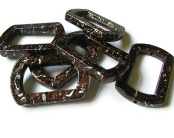 6 41mm Brown Splatter Paint Rectangle Bead Frames Acrylic Plastic Beads