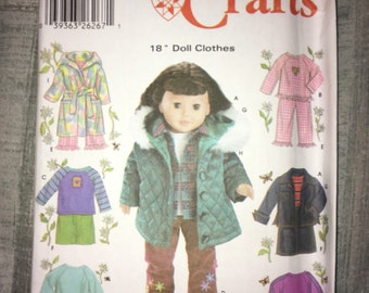 Uncut Simplicity Crafts Pattern No. 5733 - 18 inch Doll Clothes