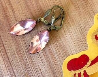 Pink Earrings, Simple dangle earrings, Wedding Earrings, Bridesmaid gifts, blush pink gems, romantic jewelry