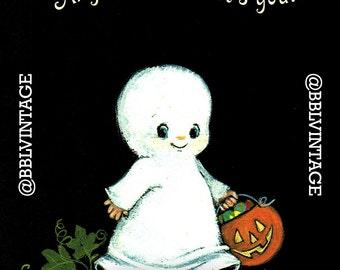 Vintage Digital Greeting Card: Cute Trick or Treating Ghost Halloween Card - Digital Download, Printable, Scrapbooking, Image, Clip Art