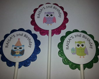 Personalized Owl Cupcake Toppers (12)