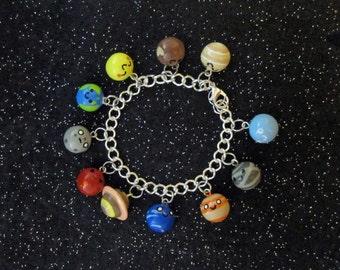 Planets of the Solar System Sun Moon and Stars Charm Bracelet
