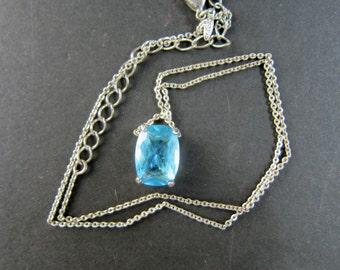 Blue Topaz  Glass Pendant Necklace