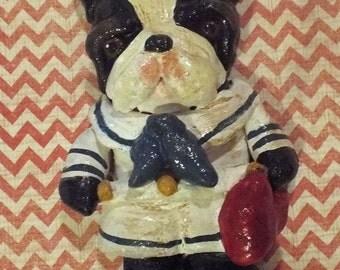 Folk Art Boston Terrier Dog Sailor Ornament Ooak Doll Vintage Nostalgic Styloe