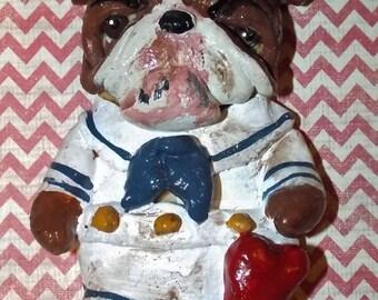 Folk Art English Bull Dog Ornament Doll One of a Kind Vintage Nostalgic Sailor Dog Art Doll
