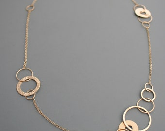 Asymmetrical links, disc and circles gold filled necklace, Rachel Wilder Handmade Jewelry