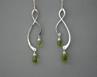 Sterling silver and green peridot vine earrings, Rachel Wilder Handmade Jewelry