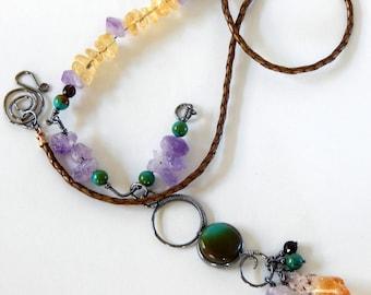 Turquoise Necklace Statement Necklace Boho Necklace Natural Gemstones Layering Necklace Turquoise Jewelry Gemstone Jewelry Boho Jewelry