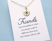 Best Friend Gift | Compass Necklace | Best Friend Necklace | Friendship Necklace | BFF Gift | Friendship Gift | Silver or Gold | F05