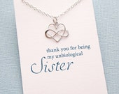 Unbiological Sister Gift | Sister Necklace | Infinity Heart Necklace | Friendship Necklace | Infinity Charm Pendant | Sterling Silver | S09