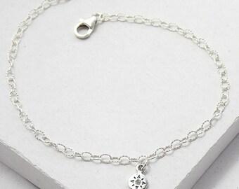 Diamond Compass Bracelet | Delicate Everyday Bracelet | Stacking Bracelet | Wanderlust Charm | Talisman | Sterling Silver
