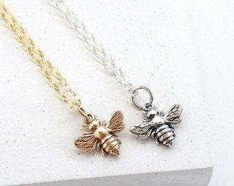 Tiny Bee Necklace | Queen Bee Necklace | Layering Necklace | Insect Jewelry | Charm Necklace | Silver or Gold