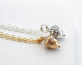 Acorn Charm Necklace | Fall Wedding Necklace | Fall Fashion | Woodland Jewelry | Silver or Gold