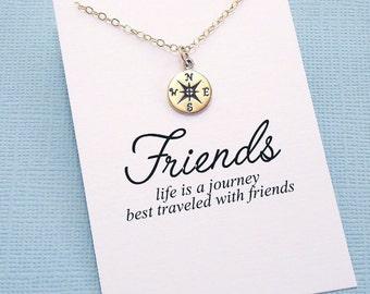 Best Friend Gift | Compass Charm Necklace, Best Friend Necklace, Friendship Necklace, Best Friend, Friendship, Bestfriend, BFF, Bestie | F02