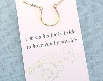 Bridesmaids Gifts | Horseshoe Necklace, Horseshoe, Layering Necklace, Everyday Necklace, Bridal Party Gifts, Horse | Silver, Gold, Rosegold