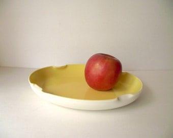 Yellow Fired On Milk Glass Platonite Shallow Dish Pinched Bowl Platter
